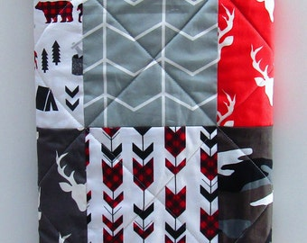 Modern Baby Quilt, Rustic Woodland Baby Bedding, Charcoal-Gray-Red-Camo-Plaid-Arrows-Deer-Bear-Buck-Antler-Chevron-Hunting Baby Blanket