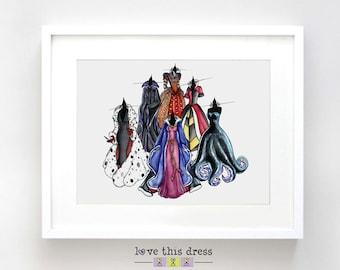 Disney Villain Sketch Watercolor Print - Disney Villain Art Gift - Villains Dress Illustration Art - Fine Art Sketch Print