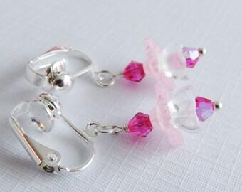 Hot pink childrens earrings, clip on flower earrings, flower girl gift, little girl jewelry, child wedding jewelry, granddaughter gift