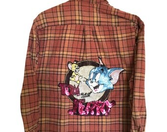 Tom and Jerry Shirt in Sequin Plaid Flannel. Classic Cartoon Network tv show logo patch sequins peach pink salmon long sleeve graphic tees