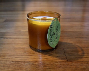 Citron and Mandarin Scented Soy Candle - Orange Scented Candle - Soy Candle - Wood Wick Candle - Plantable Tag - Wildflower Seeded Tag -