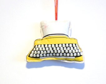 Typewriter Ornament: Retro Christmas Tree Decorations- Yellow ornament