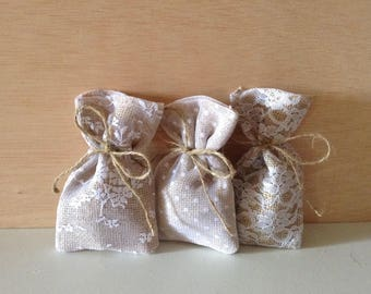 Rustic wedding (100 pc) favor bags burlap-lace-tulle(3x5inch)