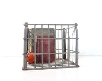 Vintage Metal Wire Crate / Industrial Storage / Metal Bordens Milk Crate
