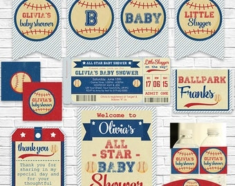Vintage Baseball Baby Shower Invitation and Decorations - Baseball Ticket Invitation & Party Kit - Download and Personalize in Adobe Reader