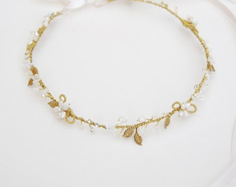 Pearl flower and gold leaf hair circlet, floral head wreath - style 346