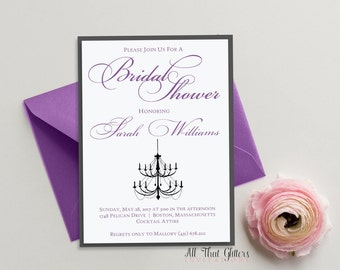 Dark Purple Shower Invitation with Chandelier, Lilac Bridal Shower Invitation, Eggplant Bridal Shower Invitation, Wedding Shower, Sarah