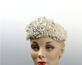 Art Deco Wedding Tiara Hand Beaded Seed Pearls and Clear Glass Cabochons 1920's to 1930's Bridal Headpiece