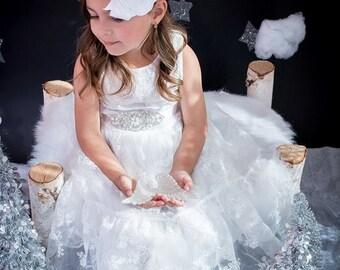 Flower Girl Headband / Headpiece, Baby Headband, Flower Girl Gift, Wedding Headband, Flower Girl Gift / Baptism Headband