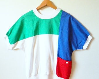 Primary Colors Vintage Boxy Top / Bold Colorblock Blouse / Vintage 80s Colorful Shirt