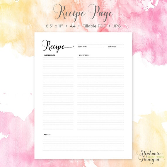 Recipe Page Recipe Printable Recipe Card – Blank Recipe Template