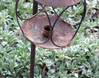 Vintage Rusty Wrought Iron Candle Stand