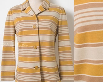 Vintage mustard jacket, 60s Jacket, Mad Men Jacket, 60s stripe jacket, vintage stripe jacket, 60s Butte Knit Jacket, 60s knit jacket - S/M