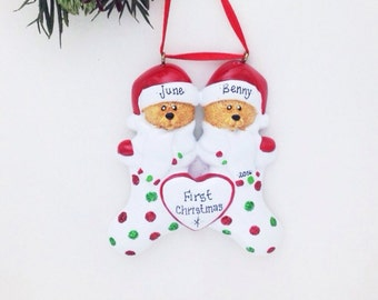 FREE SHIPPING Bear Couple in Polka Dot Stockings Personalized Christmas Ornament / Couple Ornament / First Christmas Ornament