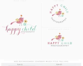 Happy Whimsical Bird- hand sketched logo - BIRD boutique Logo kit -branding kit products logo sketchy  photographer logo branding