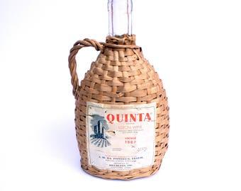 Vintage Wicker Wrapped Wine Bottle / Quinta Lisbon Wine Bottle