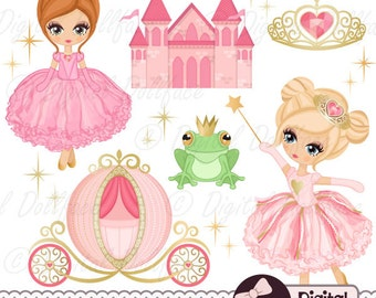"Pink Princess Clipart, Pink and Gold Princess Party, ""Little Princess"" Clip Art (Printables)"