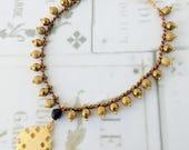Bracelet - Jerusalem Cross & Sapphire Bracelet - 18K Gold Vermeil