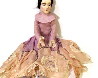 "Gorgeous Boudoir Doll 1915's, 26"" Anita Style, Antique French Doll, Embroidered Doll Clothes, Boudoir Doll Shoes, Composition Head"