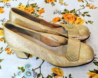 Original Vintage 60s Shoes Starlight Room Gold Glitter Block Heels Size UK 4