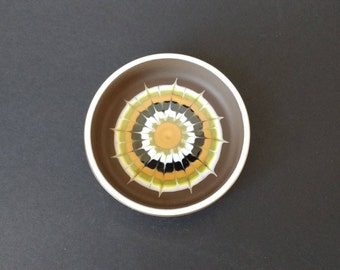 1970s Hornsea Lancaster Vitramic Muramic pin dish, ceramic bowl, funky retro abstract design, trinket dish, brown