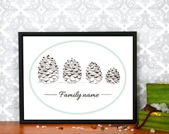 Personalized  Name Print, Family Pine Cone Art Print, Personalized Family Name Print, Wall Art, FREE Shipping