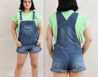 Sale! 1990's Dark Blue Jean Overall Shorts in Medium . Denim Overalls Romper . 90s 1980s 80s . medium shorts jeans . xhilaration