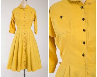 Vintage 1950s Dress • Uplifting Sun • Goldenrod Yellow Cotton 50s Day Dress Size Medium