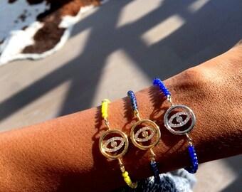 Sapphire Beaded Bracelet, September birthstone, blue bracelet, gemstone bracelet, evil eye bracelet, diamond bracelet, bead bracelet