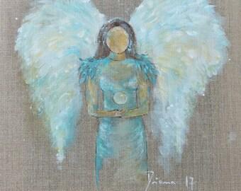 "ORIGINAL Angel painting ""Angel of Lightness""  Waldorf Style 12 x 12 inch"