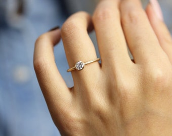 14k Gold 030 Ct Round Diamond Engagement Ring In Bezel Setting Simple