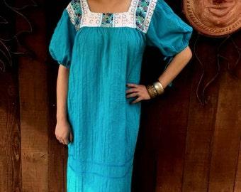 SALE, Vintage 1970's Mexican Pin Tuck Dress, Turquoise Mexican Dress, Bohemian, Folk, Ethnic, Festival Wear