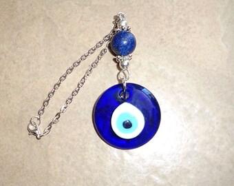 Evil Eye Rear View Mirror Car Charm, Blue Gemstone, Mirror Ornament, New Car Gift, Lapis Lazuli, Car Accessories,Car Ornament,Pagan