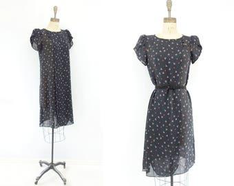 Black Floral Dress Vintage 80s Dress 80s Party Dress Puff Sleeve Dress 80s Summer Dress Sheer Floral Dress 80s Midi Dress Boho Dress xs