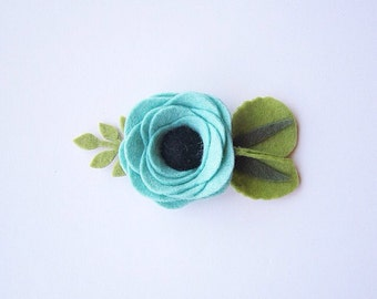 Mint Felt Flower Hair Clip or Headband