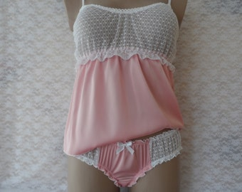 Set of pink silk white lace cami and ruffled panties