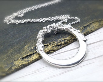 Sterling Silver Large Washer Pendant Necklace, Electroformed Pendant, Offset Washer Necklace, Silver Circular Necklace |Organic Pendant |