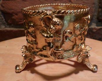 Ormolu StyleBuilt Cherub Cup holder, Vintage Gold Plated Cup holder, Hollywood Regency bathroom décor, bathroom cup holder