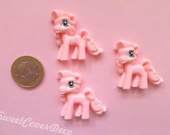 35 mm Kit 3 Cabochon Pony pink unicorns Cream