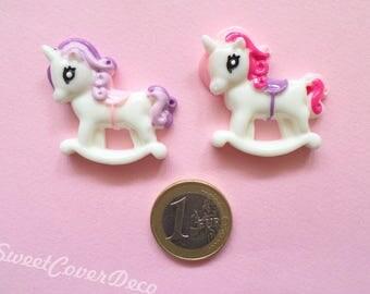 35 x 32 mm Kit 2 Cabochon Pony Unicorn