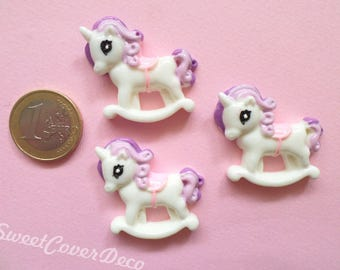 35 x 32 mm Kit 3 Cabochon Pony Unicorns Lilac Violet