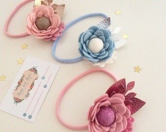 Luxe Bloom Headband - Vintage Bloom Hairband - Felt Flower Hairband - Mini Flower acrown - Boho Headband - Baby Headband