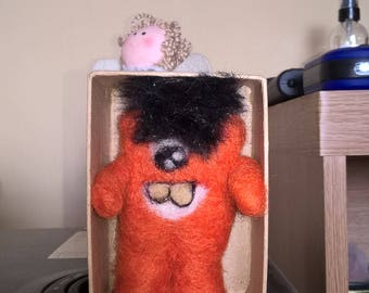 Little needle felted monster....captured in a box for your safety!!