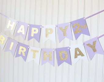 Gold, Purple, White, Ombre, Happy Birthday Banner/ Girl Birthday/ Princess Party/ Party Decorations/ Custom Name/ Personalized, Lavender