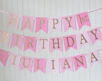 Gold, Pink, Ombre, Happy Birthday Banner/ Girl Birthday/ Princess Party/ Party Decorations/ Custom Name/ Personalized