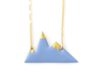 Gold and Blue Mountain origami pendant