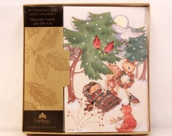 New! Vintage Elegantly Foiled and Die-Cut Christmas Cards. 20 Cards and 21 Envelopes. Sealed