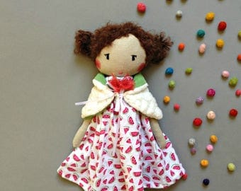 ZIZI fabric doll - Unique doll to be dressed with bolero - Unique handmade cloth doll- cloth doll