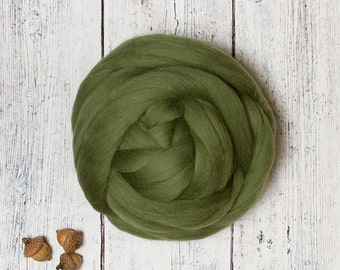 Olive 4 oz Ethical Merino Wool Roving Combed Top Sliver Fiber, Green, for Felting, Nuno, Spinning, Animal Friendly from Non-mulesed sheep