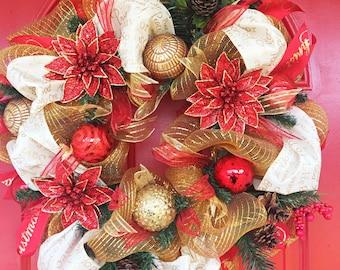 Christmas wreath Christmas red and gold wreath Poinsettias wreath Holiday wreath Winter wreath